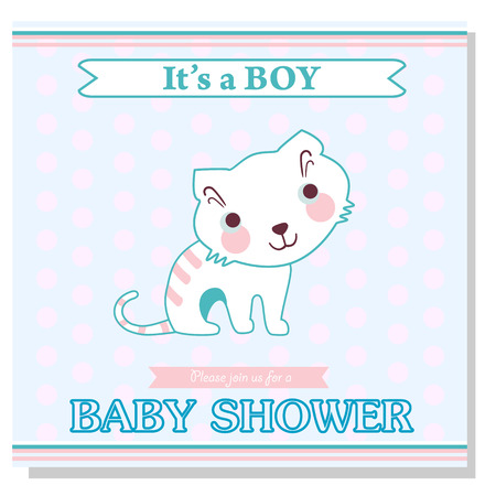 cute cards: Baby shower cards with cute kitten. Its a a boy