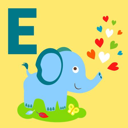 animal alphabet: Cute animal alphabet for ABC book. Vector illustration of cartoon animals. Cute Elephant for E letter Illustration
