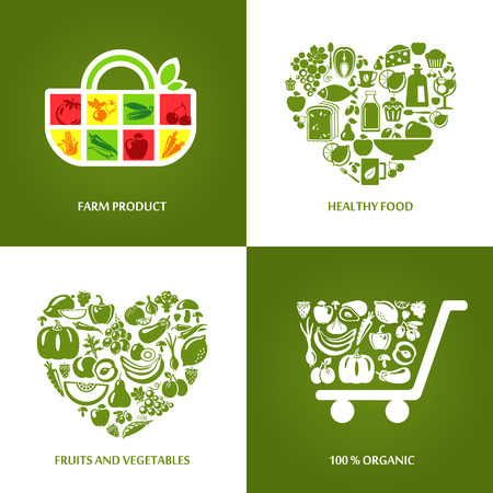 Set of concept icons for farm products, healthy food, organic market and restaurant. Fruits and vegetables icons, restaurant, healthy and vegetarian food.
