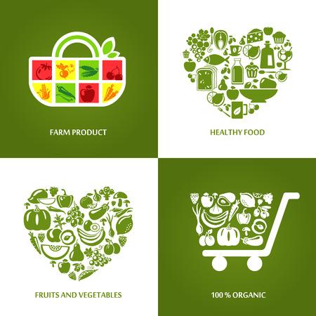 Conjunto de iconos de concepto para los productos agrícolas, alimentos saludables, mercado de productos orgánicos y restaurante. Frutas y verduras iconos, restaurante, comida sana y vegetariana.