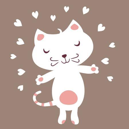 Cute White Cat in love.