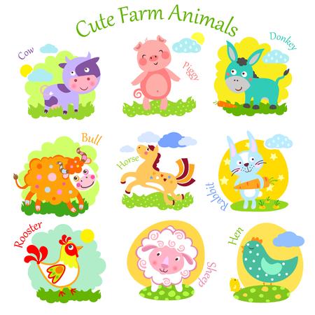 Set of cute farm animals: rabbit, sheep, donkey, cow, horse, bull, yak, buffalo, pig, piggy, chicken, rooster