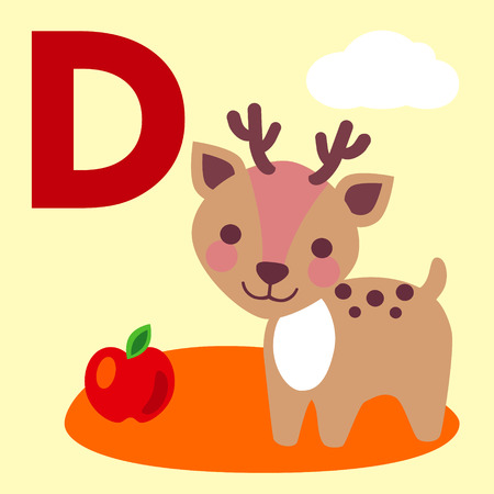 fallow: Cute animal alphabet for ABC book. Vector illustration of cartoon animals. Deer for D letter