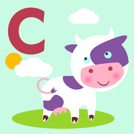 bossy: Cute animal alphabet for ABC book. Vector illustration of cartoon animals. Cow for C letter Illustration