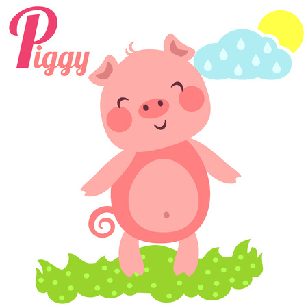 profound: Cute animal alphabet for ABC book. Vector illustration of cartoon piggy. P letter for the Piggy