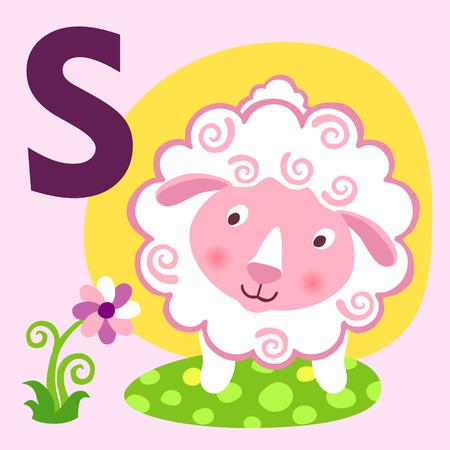 animal alphabet: Cute animal alphabet for ABC book. Vector illustration of cartoon animals. Cute cartoon Sheep for S letter