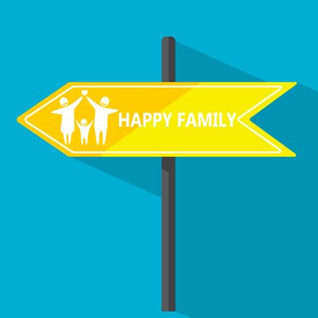 street symbols: Vector illustration Happy family Road sign.