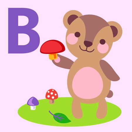 animal alphabet: Cute animal alphabet for ABC book. Vector illustration of cartoon animals. Cute bear for B letter