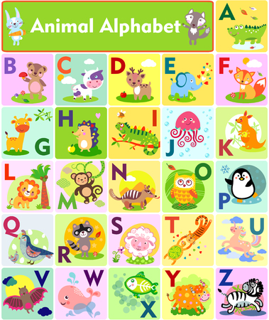 A vector illustration of cute animal alphabet from A to Z
