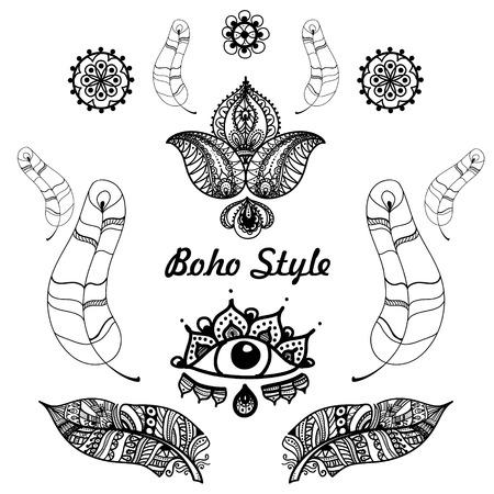 patterns vector: Vector illustration of Boho Style Elements for your design Illustration