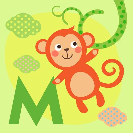 alfabeto con animales: alfabeto animal linda por un libro del abecedario. ilustración vectorial de dibujos de animales. Mono lindo para su letra M