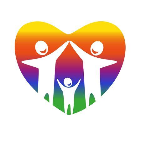 gay family: Gay family vector icon. Illustration
