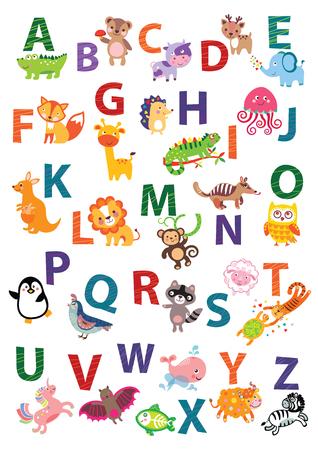 studying classroom: Cute animal alphabet. English Alphabet poster. Nursery Wall Art, Animal Themed, Kids Art Decor, Gender Neutral Nursery, ABC, Childrens Wall. Cute animal alphabet vector