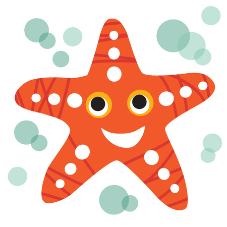 seastar: An illustration of a cute smiling starfish in format. Nice starfish image for kids education and fun in nursery and schools, and decoration purposes. Sea animals collection