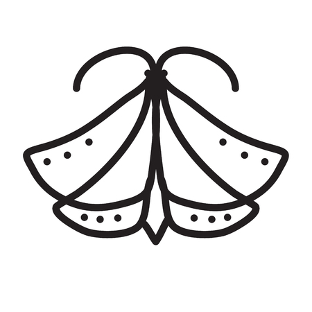 moth: illustration of butterfly or moth, night-fly,  Butterfly icon. Illustration