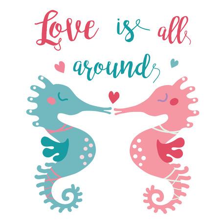 love image: illustration of two cute seahourses kissing each other in the sea of love. Valentine greeting card; love story image for your fiance. Love is all around image.