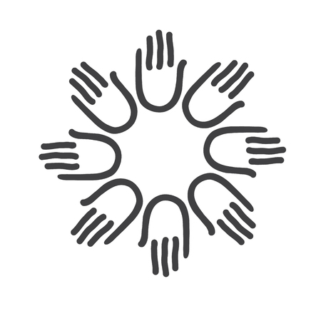 team hands: Simple icon design. Hands - template for the team, fund, association, community. Graphic idea for a company or a social project. Illustration