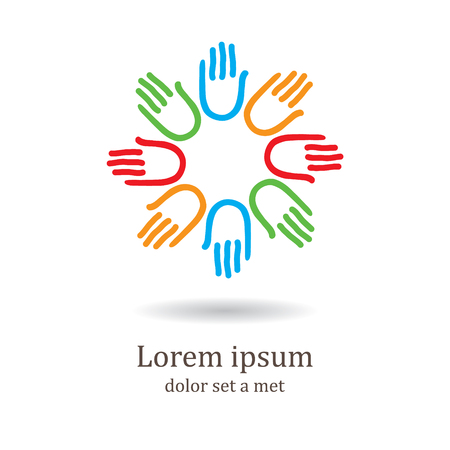 association: Simple  icon design. Hands - template for the team, fund, association, community. Graphic idea for a company or a social project.