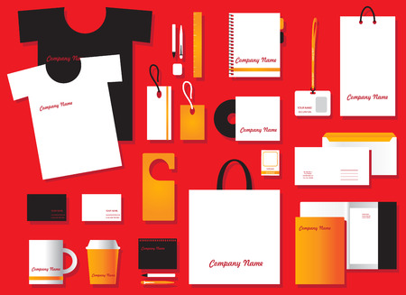 tee shirt template: Corporate identity template set. Business stationery mock-up. Branding design.Corporate flat identity mock-up template for your design. illustration Illustration