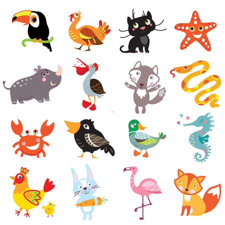 boa: illustration of cute animals and birds: toucan, turkey, panther, cat, starfish, rhinoceros, a pelican, a wolf, a boa constrictor, crab, crow, duck, sea horse, rooster, hare, rabbit, flamingo, fox. illustration of cute animals set.