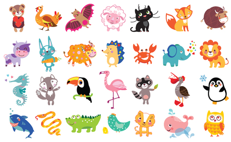 Vector illustration of cute animals and birds set: bear, turkey, bat, sheep, panther, fox, bull, cow, hare, yak, hedgehog, toucan, flamingo, shark, owl, pelican, crab, lion, sea horse, wolf, raccoon, penguin, whale, boa Ilustração