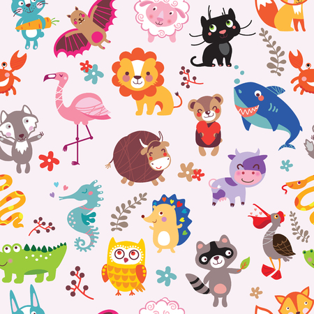 Vector seamless pattern with cute animals. Hand drawn outline decorative endless background with cute cartoon animal set. Graphic illustration. Print for wrapping, background, decor Ilustracja