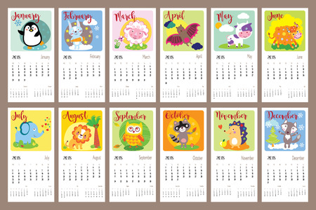 Cute animals calendar 2018 year. Cute cartoon animals for every month. Vector illustration. Can be used for web, banner, poster, label and printable