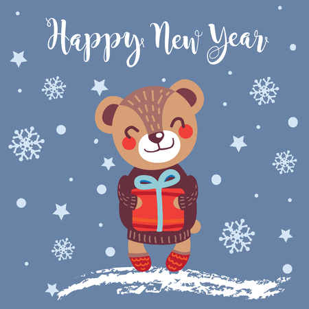 Christmas greeting card with cute Bear. Happy New Year. Hand drawn style. Vector illustration. Ilustração