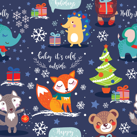 Christmas and New Year seamless Pattern with cute animals. Vector illustration Illustration