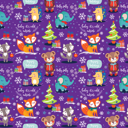 Christmas and New Year seamless Pattern with cute animals. Vector illustration Ilustração