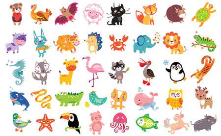 Vector illustration of cute animals and birds set: rhinoceros, starfish, unicorn, sheep, panther, fox, bull, cow, hare, yak, hedgehog, toucan, flamingo, shark, owl, pelican, crab, lion, sea horse, wolf, raccoon, penguin, whale, boa
