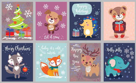 Set of Seasonal Winter Holidays, Christmas and New Year Greeting Cards, holiday postcards with cute animals. Vector illustration