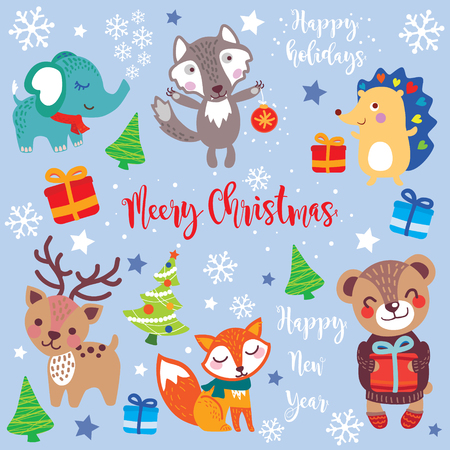 Christmas set of Seasonal Winter Holidays, Christmas and New Year Greeting hand drawn style - calligraphy, cute animals and other elements. Vector illustration of cute animals sticker set