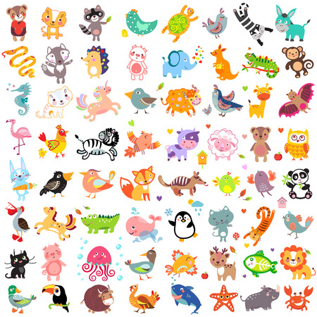 Vector illustration of cute animals and birds set Illustration