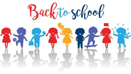 Back to school banner with cute school kids silhouetes.