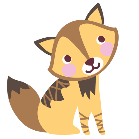 A vector illustration of cute friendly charming jackal, wolf cub, wild dog. Cartoon character.