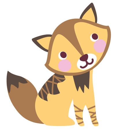 A vector illustration of cute friendly charming jackal, wolf cub, wild dog. Cartoon character.