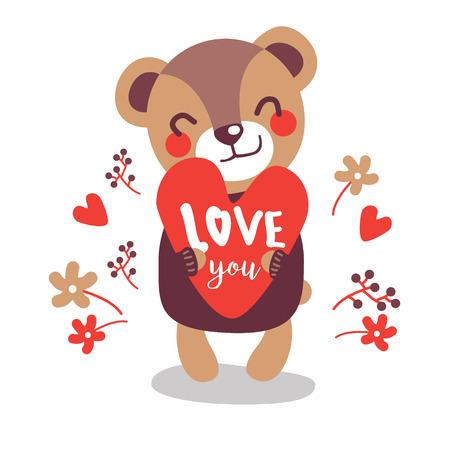 I Love you card design with cute teddy bear. Valentines Day greeting card design. Vector illustration