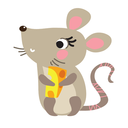 A vector illustration of cute mouse with cheese. Cartoon character. Ilustração