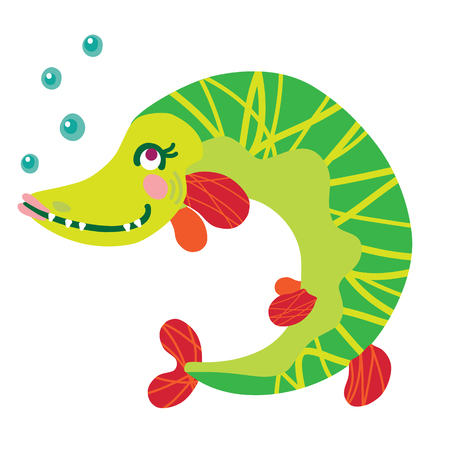A vector illustration of cute friendly girlish pike fish. Cartoon character.