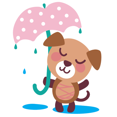 A vector illustration of cute friendly charming puppy under umbrella. Cartoon character.