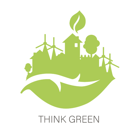 Think green and Ecology concept with green city on leaf, green energy concept