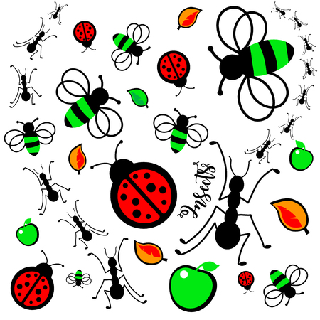 Vector illustration of cute insects. Ladybug, ant, fly, bee, ladybird, butterfly, moth Ilustração