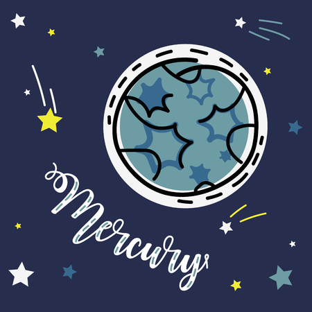 Mercury planet. Vector collection of solar system planets. Ilustração