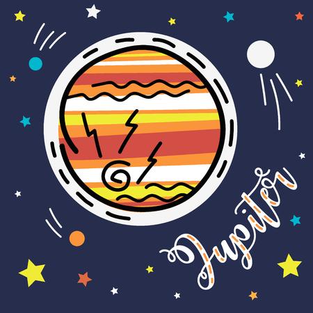 Jupiter planet. Vector collection of solar system planets. Illustration