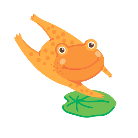 Hand drawn vector illustration of a cute orange frog jumping on a leaf of a water lily.