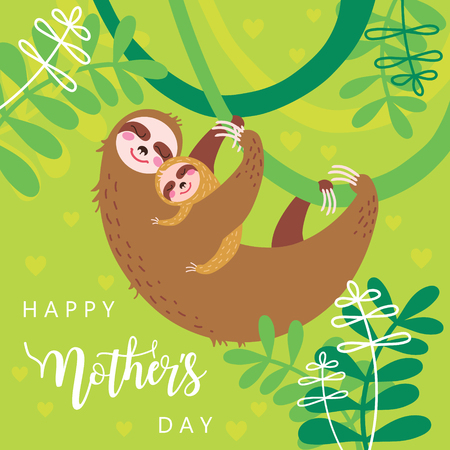 Happy mothers day concept. Vector illustration of A pair of cute sloths, mom and baby hugging and sleeping.