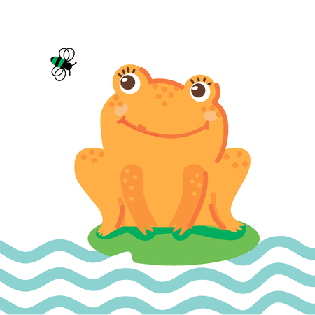 Hand drawn vector illustration of a cute happy frog sitting on a leaf and catching a fly. Concept for children print. - Vector Ilustração