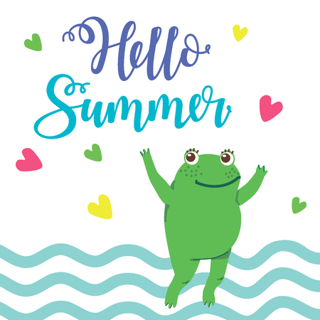 Hand drawn vector illustration of a cute happy frog jumping in a puddle. Hello summer. Concept for children print. - Vector