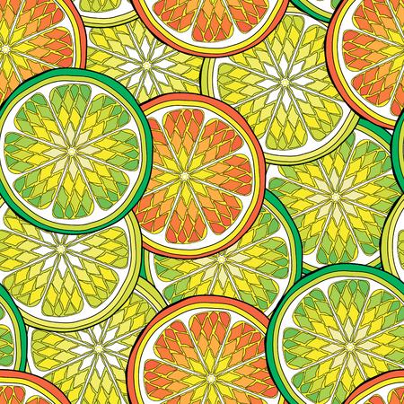 Seamless pattern with citrus tropical fruits. Lemon, orange, Amanatsu, Calamondin, citron, clementine, grapefruit, kabosu, kinnow, kumquat, mandarin, pomelo, tangerine, tangor, lime. Colorful design – Vector illustration